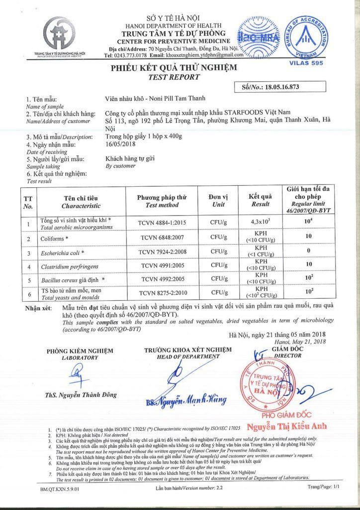 giấy chứng nhận an toàn thực phẩm của viên nhàu khô noni pill